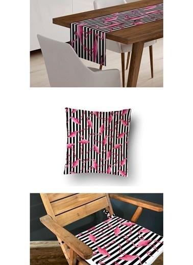 Lyn Home & Decor 3'lü Kombin Çizgili Flamingo Renkli